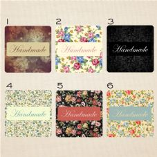 Vintage Style Mini Sticker Set Text Reads Handmade